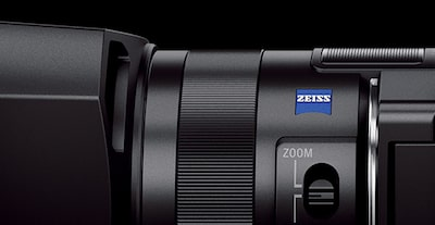 Close-up of Handycam® showing Zeiss® logo