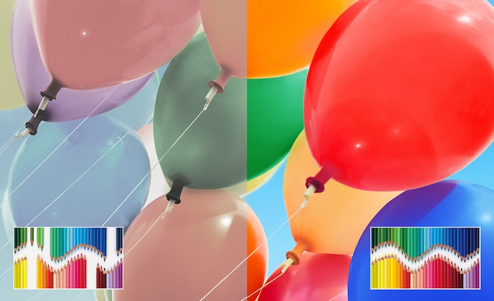 Balloons showing the wide range of colours with TRILUMINOS