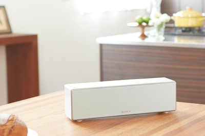 Sony wireless speaker on living room table